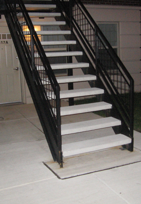 Stair Treads On Steel. Concrete Stairtreads